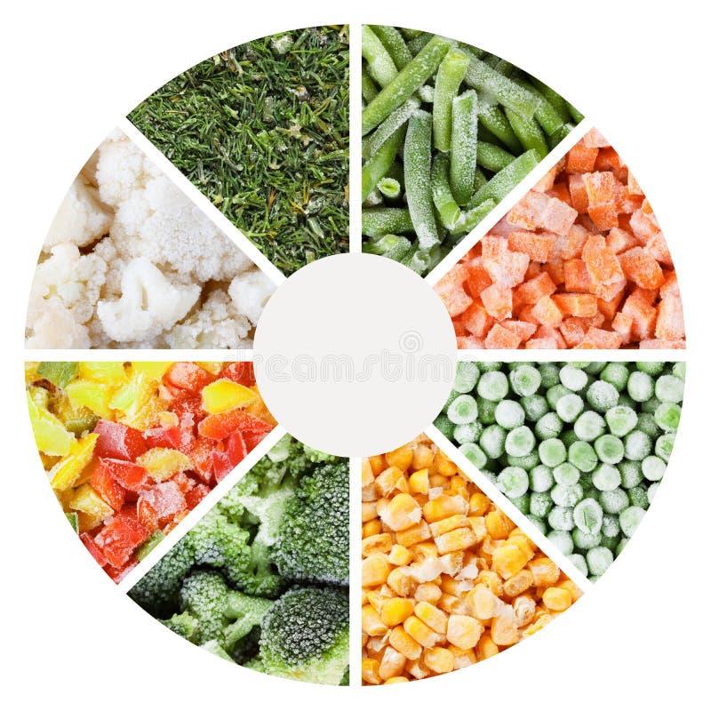 Gefrorene Gemüsehintergründe eingestellt stockbild