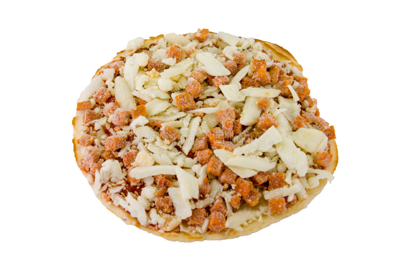 Gefrorene Minipizza auf Weiß stockbilder