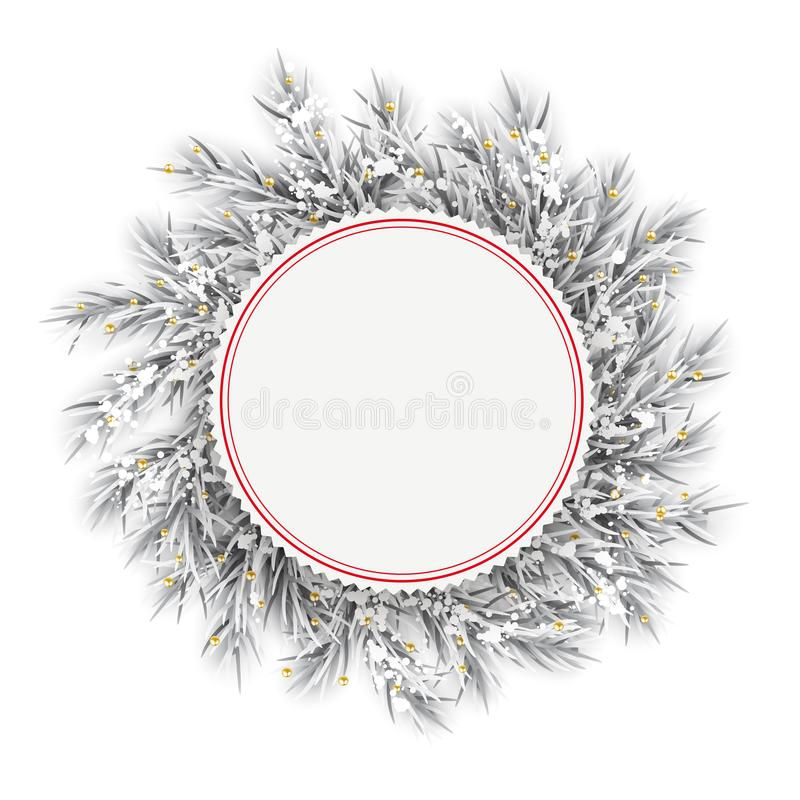 Gefrorene Zweig-roter Emblem-Schnee goldenes Deco vektor abbildung