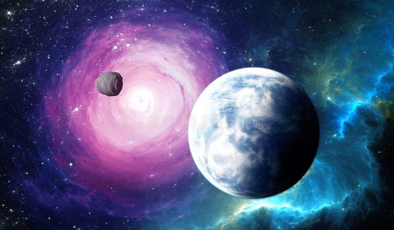Gefrorener Extrasolar Planet vom tiefen Weltraum stock abbildung