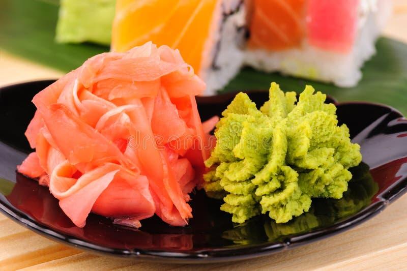 Gefrorener Ingwer und Wasabi stockbild