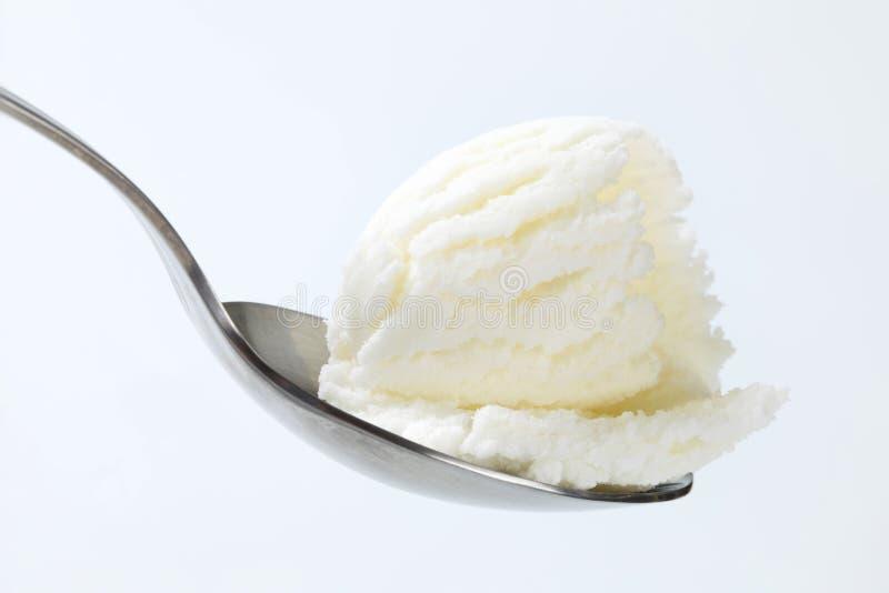 Gefrorener Joghurt auf Löffel stockfotografie