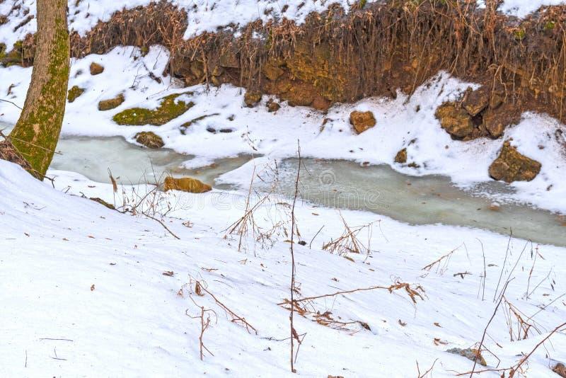 Gefrorener Nebenfluss im Herzen des Winters lizenzfreie stockbilder