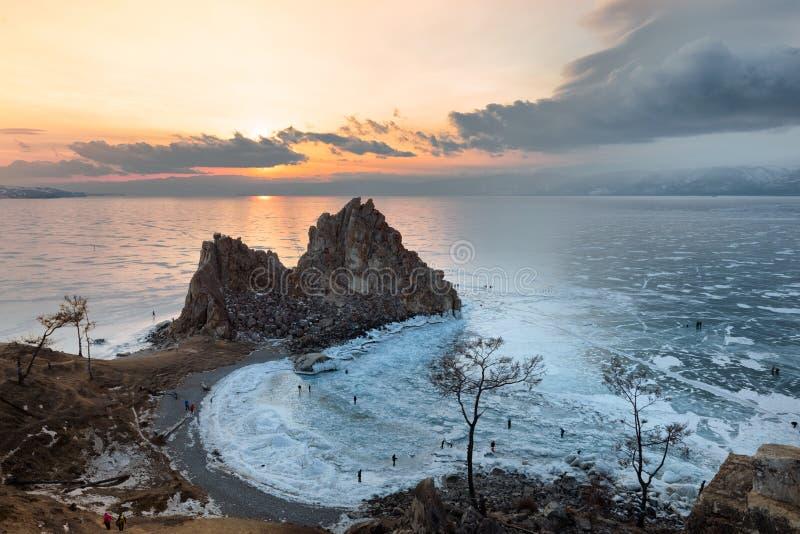 Gefrorener See Baikal stockbilder