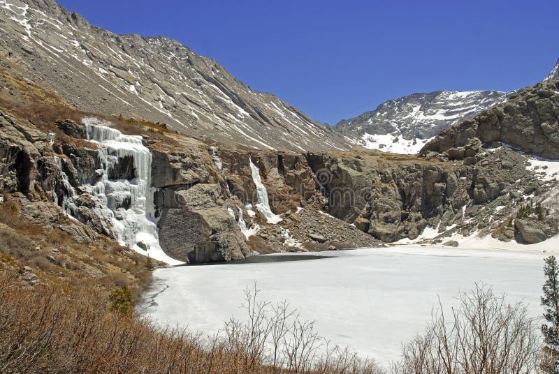 Gefrorener Wasserfall und eisiger See, Rocky Mountains lizenzfreie stockbilder
