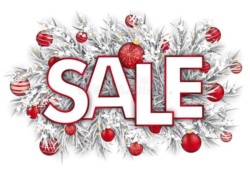 Gefrorener Zweig-Schnee-roter Flitter-Verkauf lizenzfreie abbildung