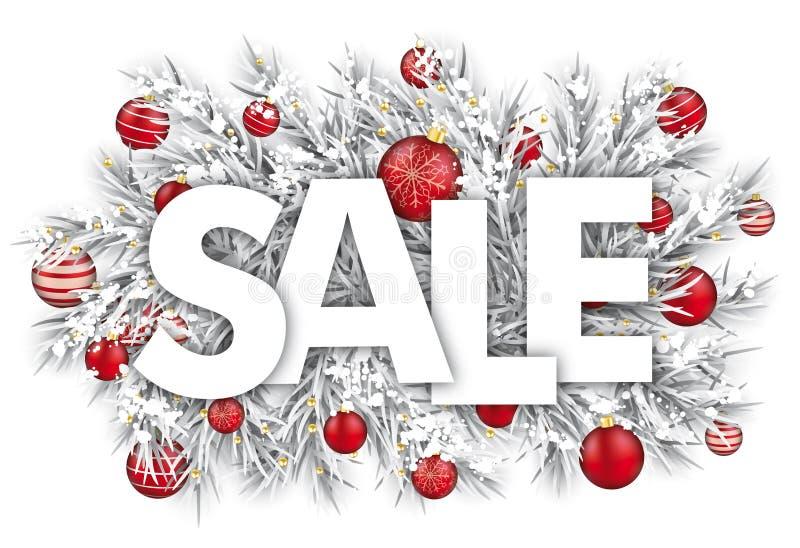 Gefrorener Zweig-Schnee-roter Flitter-Verkauf stock abbildung