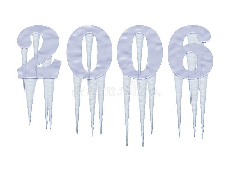 Gefrorenes 2006 Jahr mit Eiszapfen stock abbildung