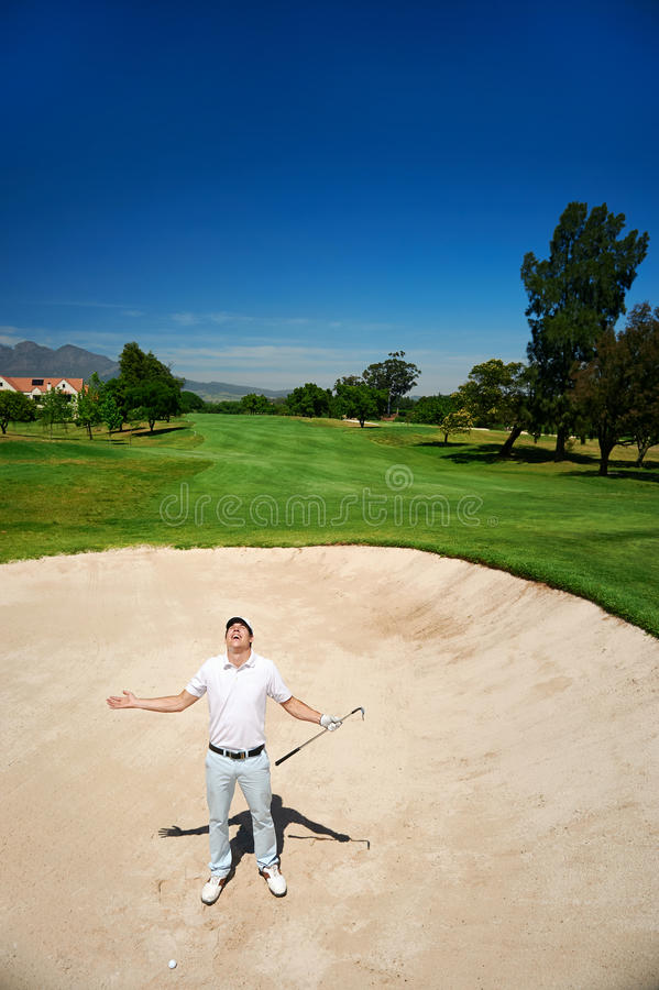 Gefrustreerd golf stock foto