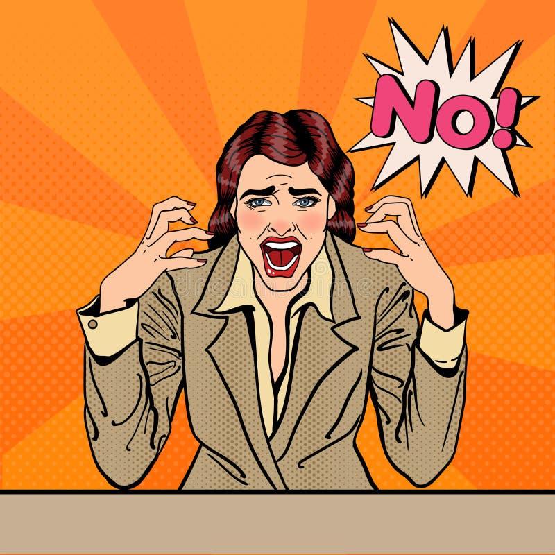 Gefrustreerde Beklemtoonde Bedrijfsvrouw die Nr gillen Pop-art stock illustratie