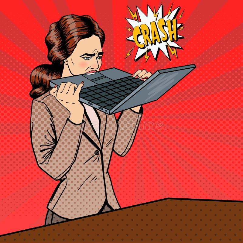 Gefrustreerde Beklemtoonde het Bedrijfsvrouw Bijten Laptop in Bureau Pop-art vector illustratie