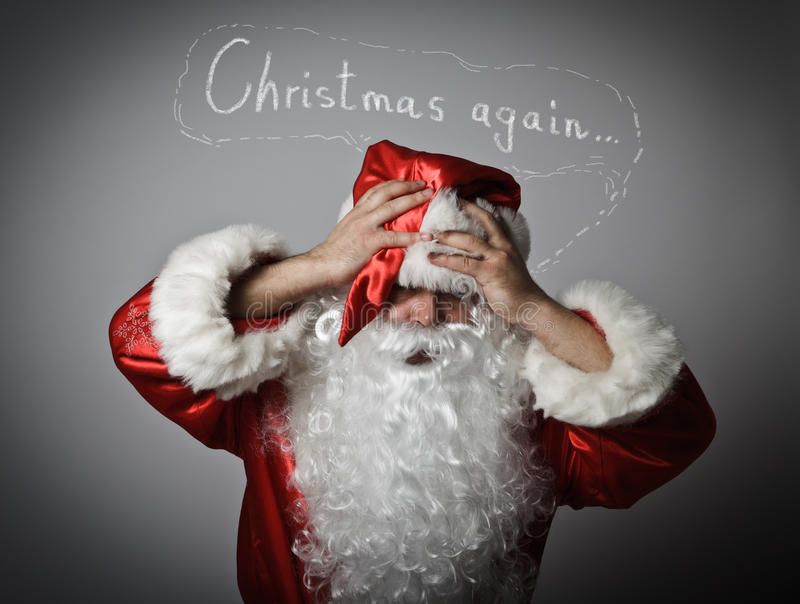 Gefrustreerde Santa Claus Concept - Kerstmis opnieuw royalty-vrije stock afbeelding