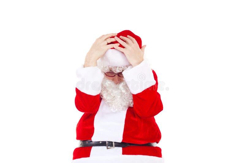 Gefrustreerde Santa Claus toe te schrijven aan partij van het werk stock foto's