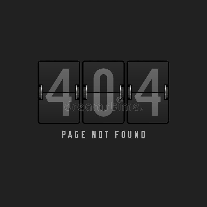 gefundene Designschablone 404 Seite nicht Mechanische Flughafen-Anzeige Seitenkonzept mit 404 Fehlern Auch im corel abgehobenen B vektor abbildung
