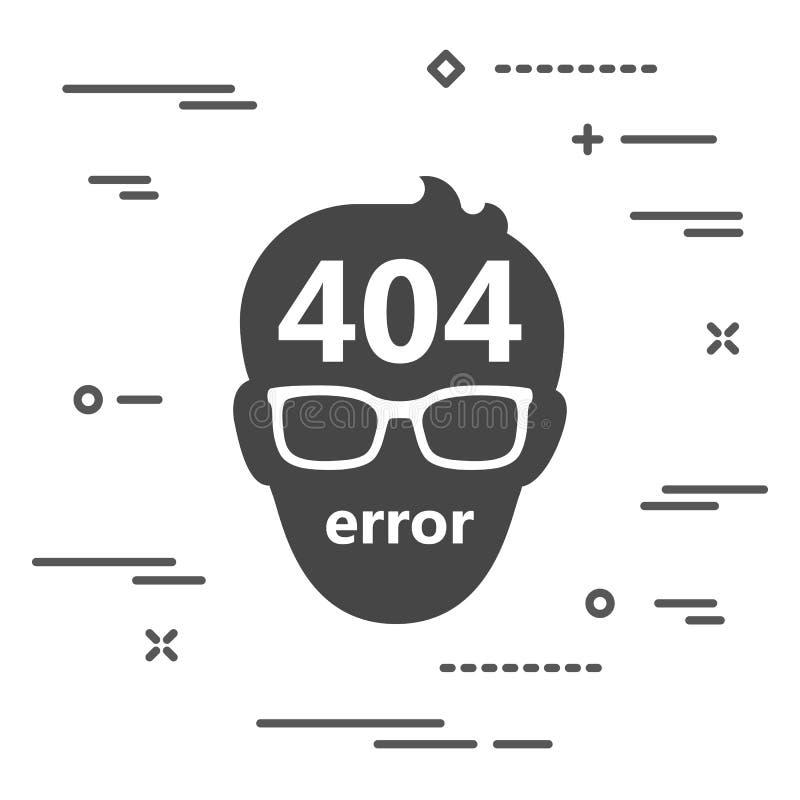 gefundene Illustration der Seite mit 404 Fehlern nicht des Mannes mit Glasikone O vektor abbildung
