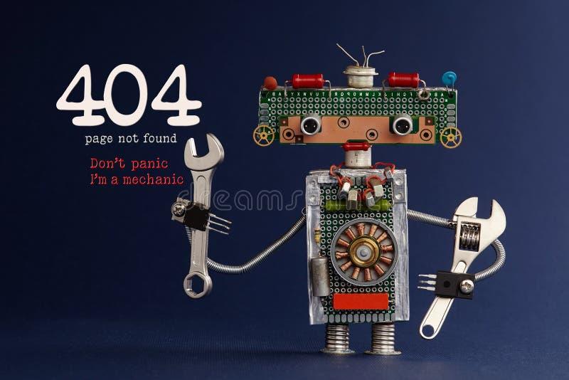 gefundenes Konzept der Seite mit 404 Fehlern nicht Don-` t Panik I ` m ein Mechaniker Übergeben Sie Schlüssel Roboterheimwerker d lizenzfreies stockfoto