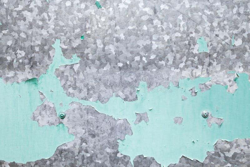 Gegalvaniseerde ijzerplaat met groene verflaag royalty-vrije stock afbeeldingen