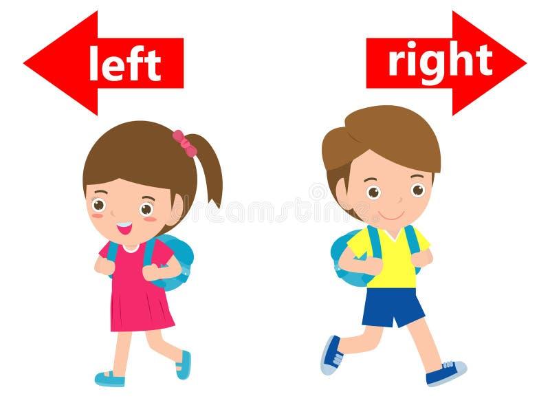Gegenüberliegendes links und recht, Mädchen auf dem links und dem Jungen auf dem Recht auf weißem Hintergrund, Zeichenlinks und r vektor abbildung