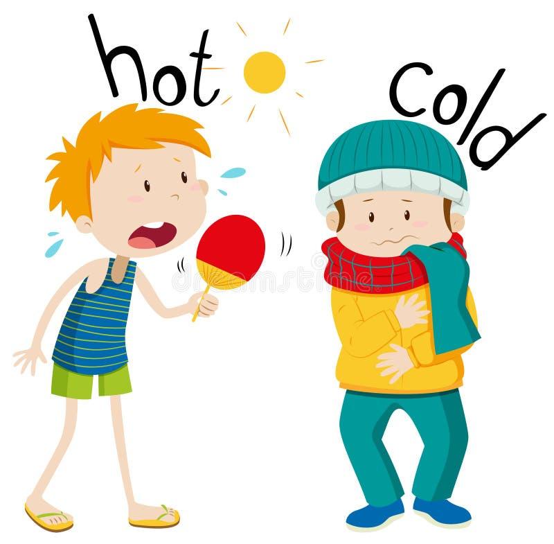 Gegenüberliegende Adjektive heiß und kalt stock abbildung