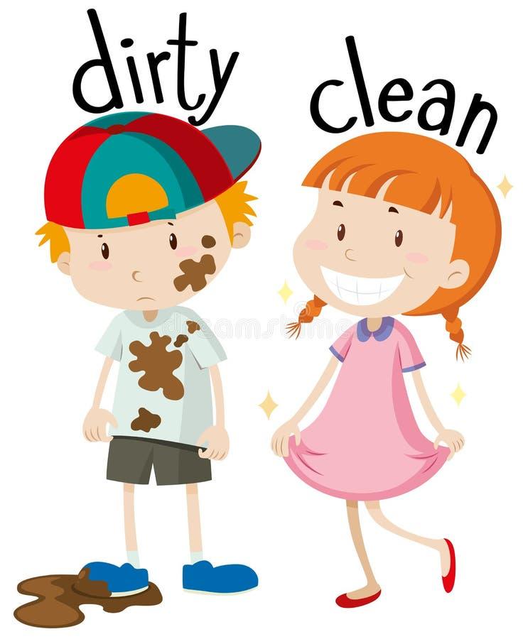 Gegenüberliegende Adjektive schmutzig und sauber stock abbildung