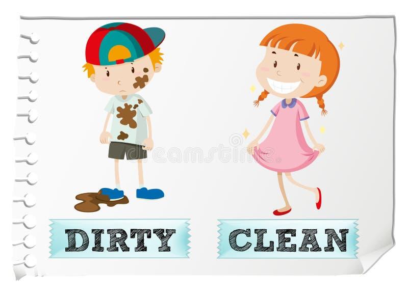 Gegenüberliegende Adjektive schmutzig und sauber vektor abbildung