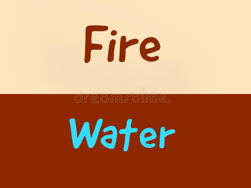 Gegenüberliegende Wörter des Feuers und des Wassers zwei auf dem Hintergrund vektor abbildung