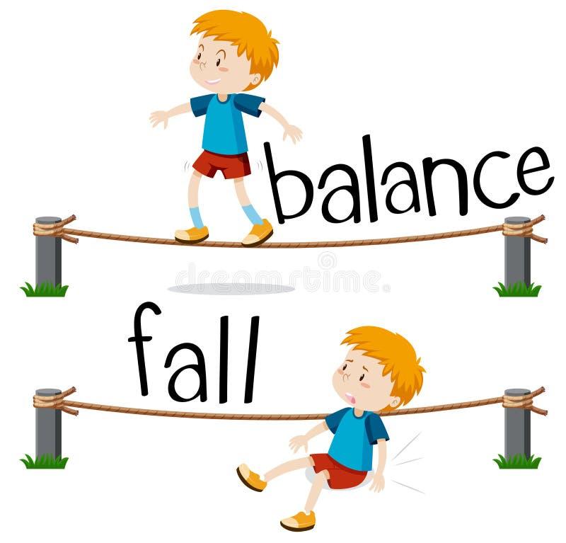 Gegenüberliegende Wörter für Balance und Fall lizenzfreie abbildung