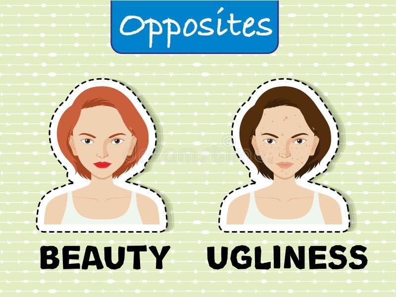 Gegenüberliegende Wörter für Schönheit und Hässlichkeit vektor abbildung