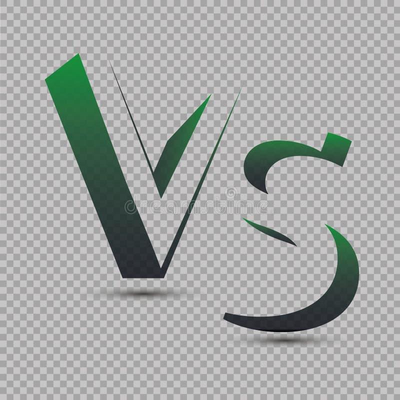 Gegen Logo GEGEN Vektor beschriftet Illustration Wettbewerbs-Ikone Kampf-Symbol vektor abbildung
