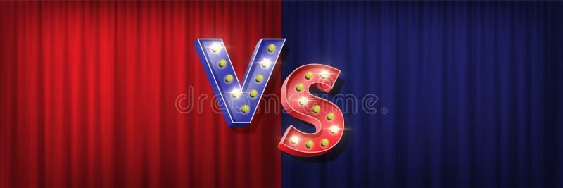 Gegen Schirmdesign Vektor blaues V und rote s-Buchstaben mit glänzenden Birnen auf den roten und blauen Vorhanghintergründen lizenzfreie abbildung