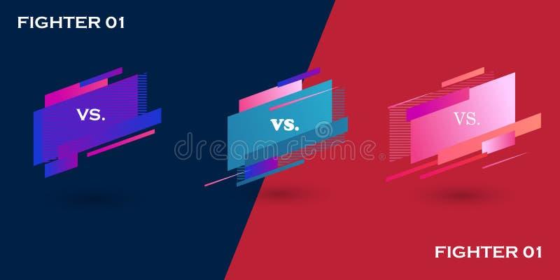 Gegenschirm Vs-Kampf-Schlagzeile, Konflikturm zwischen Rot- und Blauen-Teams Konfrontation und Wettbewerb Boxen vektor abbildung