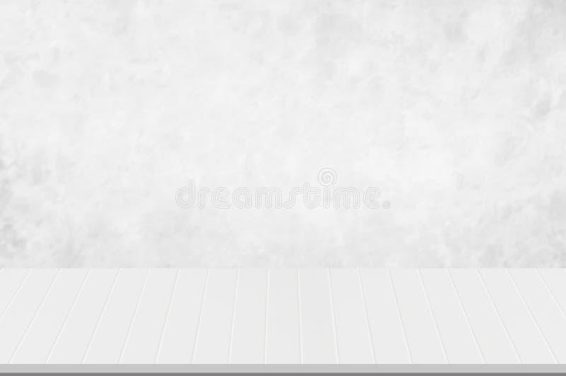 Gegenspitze, weiße hölzerne Nut der Perspektive mit unscharfem weißem oder hellgrauem Marmornatürlichem Beschaffenheitshintergrun lizenzfreies stockfoto