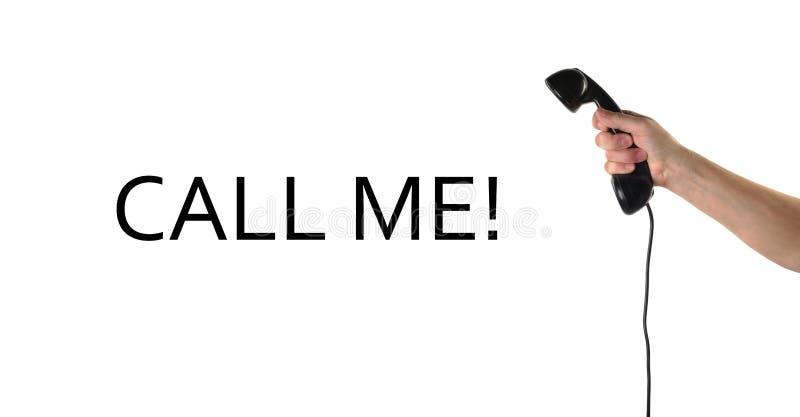 Gegenstände übergibt Aktion - Handgriffe Retro- Telefonhörer Rufen Sie mich? stockfotos