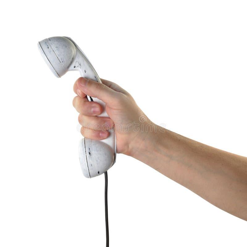 Gegenstände übergibt Aktion - Handgriffe Retro- Telefonweißhörer ISO lizenzfreies stockbild