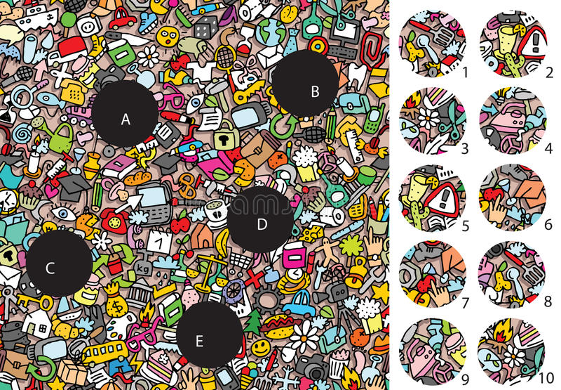 Gegenstände: Matchstücke, Sichtspiel Lösung in versteckter Schicht! stock abbildung