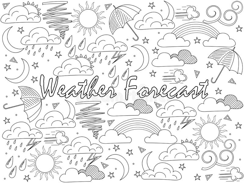 Gegenst?nde der linearen Kunst auf einem wei?en Hintergrund Wettervorhersage, Nachrichten raster lizenzfreie abbildung