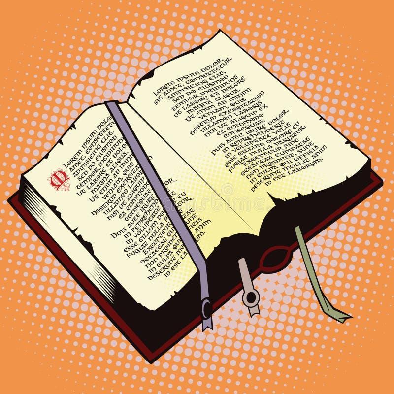 Gegenstand in der Retrostilpop-art Altes Buch stock abbildung