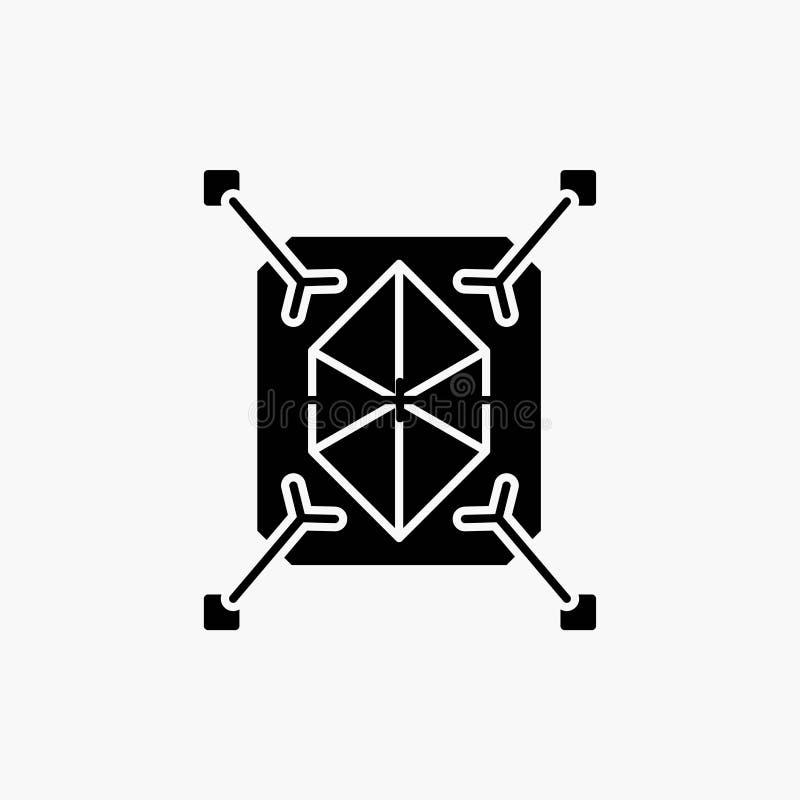 Gegenstand, Erstausführung, schnell, Struktur, Ikone des Glyph-3d Vektor lokalisierte Illustration vektor abbildung