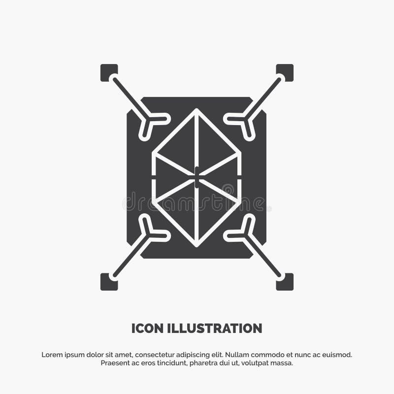 Gegenstand, Erstausf?hrung, schnell, Struktur, Ikone 3d graues Symbol des Glyphvektors f?r UI und UX, Website oder bewegliche Anw vektor abbildung