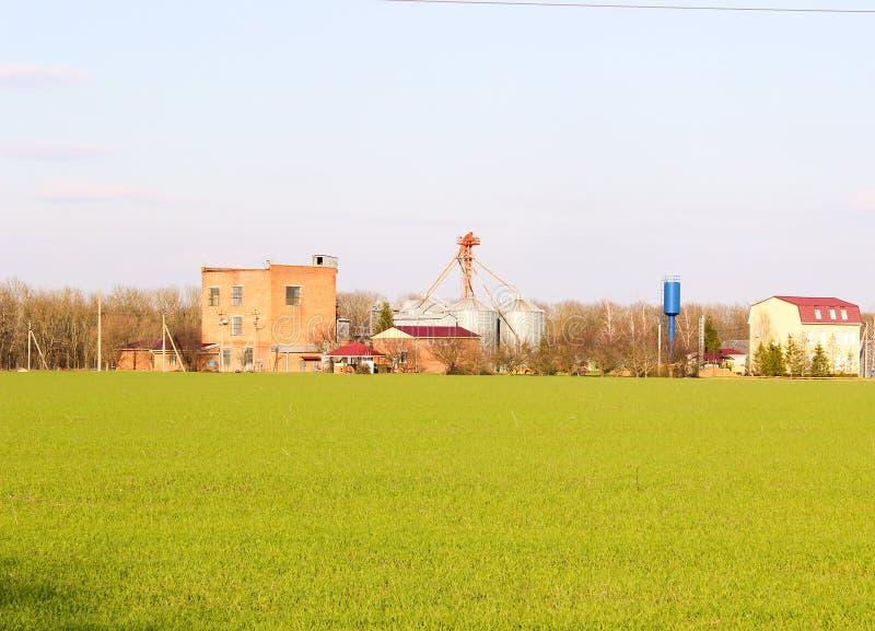 Gegenstand für die Verarbeitung von Agrarprodukten auf dem Hintergrund eines grünen Feldes stockbilder