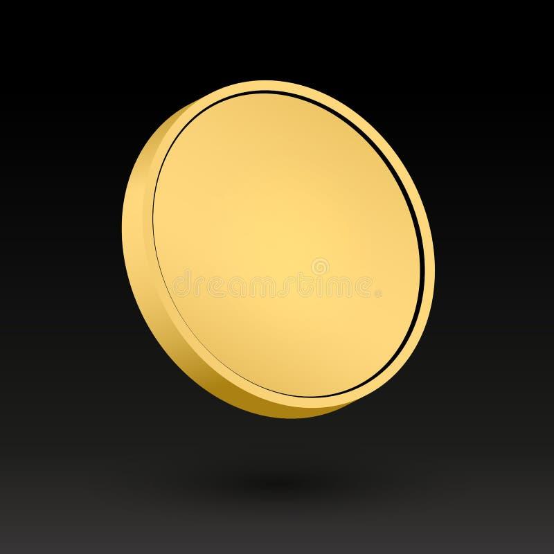 Gegenstand-Vektor-Illustrations-Medaille der Goldmünze-3d stock abbildung
