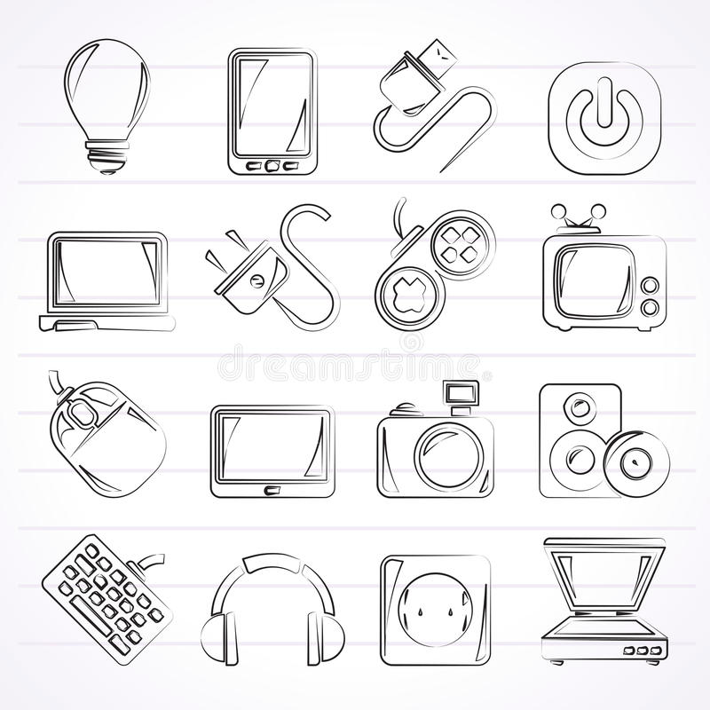 Gegenstandikonen der elektronischen Geräte stock abbildung