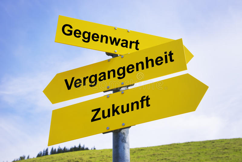 Gegenwart, Vergangenheit, Zukunft arrow signs. Three yellow arrow signs with German caption Gegenwart, Vergangenheit, Zukunft (in english present, past, future royalty free stock photo