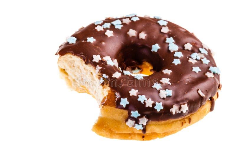 Gegeten doughnut royalty-vrije stock foto's