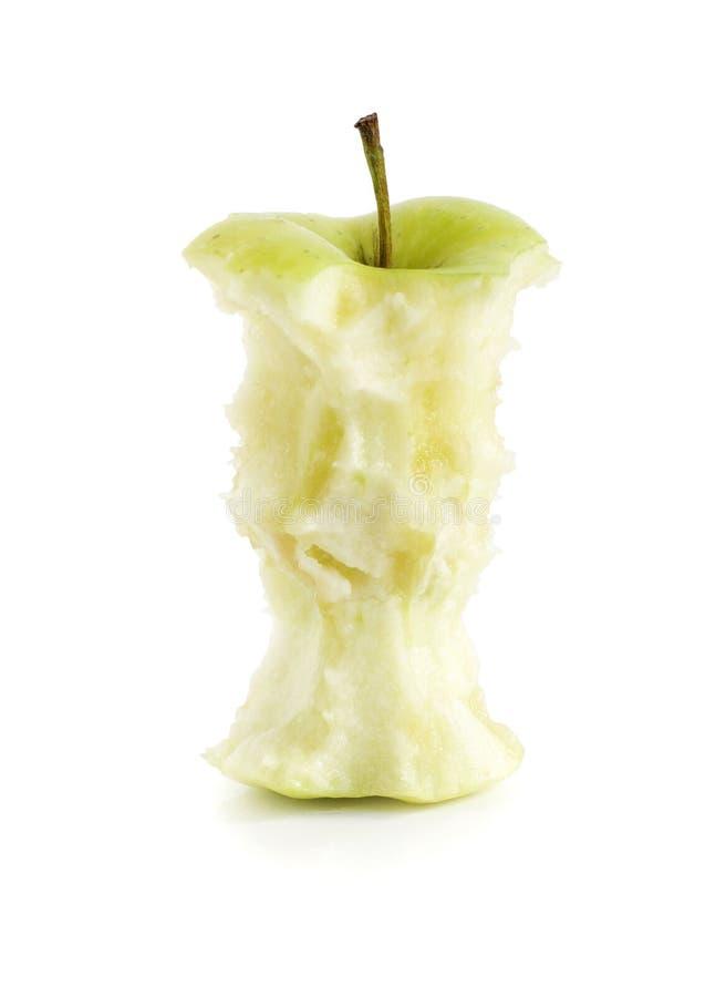Gegeten groene appel stock afbeeldingen