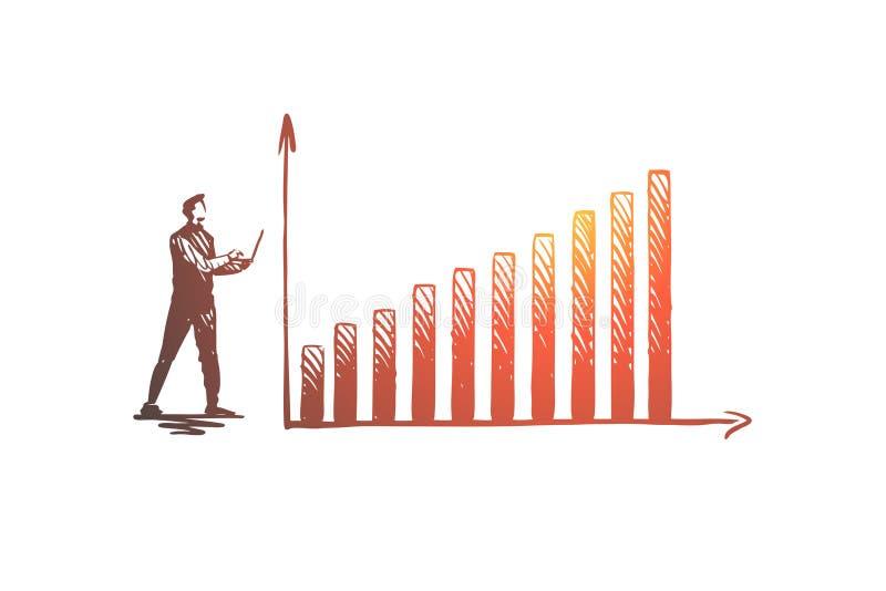 Gegevens, analytics, diagram, infographic, de groeiconcept Hand getrokken ge?soleerde vector vector illustratie