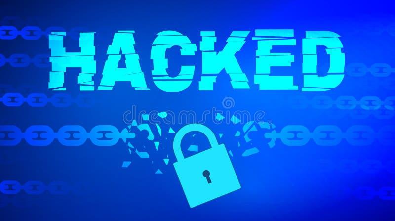Gegevens binnendrongen in een beveiligd computersysteem thema met gebroken ketting royalty-vrije stock afbeelding