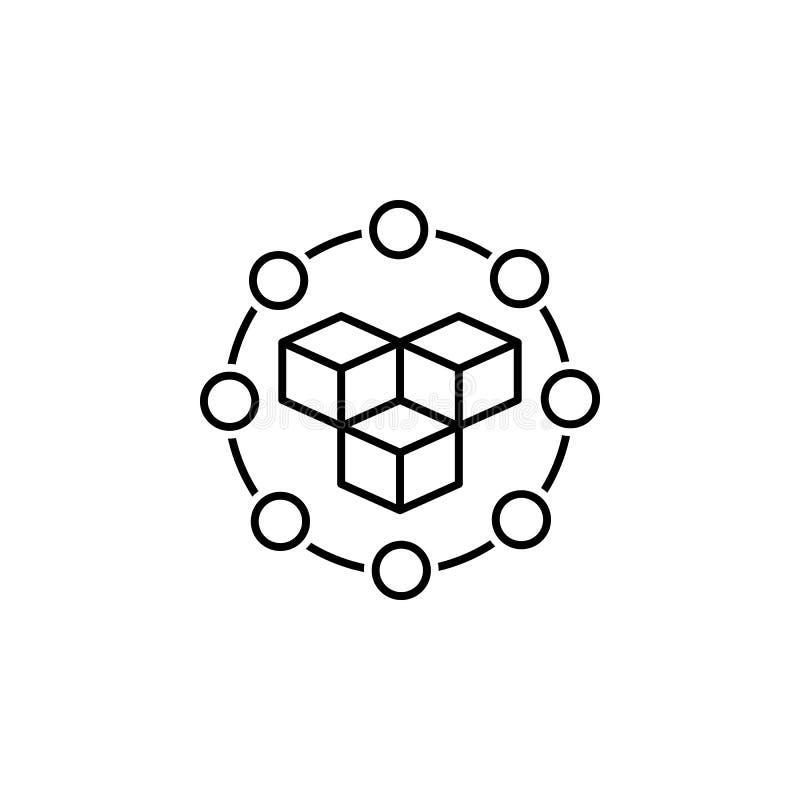 gegevens, blockchain pictogram Element van technologisch gegevenspictogram voor mobiele concept en webtoepassingen De dunne lijng vector illustratie