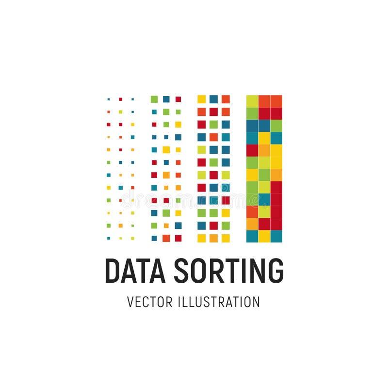Gegevens die vectorillustratie sorteren Groot database vectorembleem Informatie die abstract embleem sorteren Digitale Technologi royalty-vrije illustratie