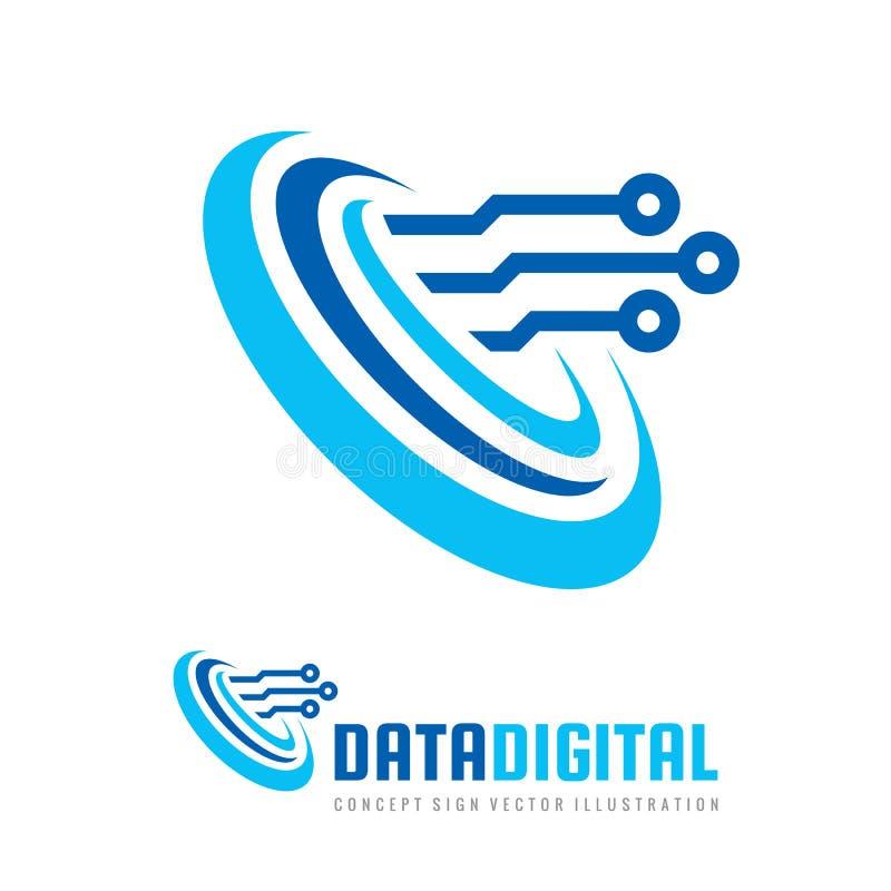 Gegevens digitale elektronische technologie - vectorembleemmalplaatje voor collectieve identiteit Abstract chipteken Netwerk, Int vector illustratie